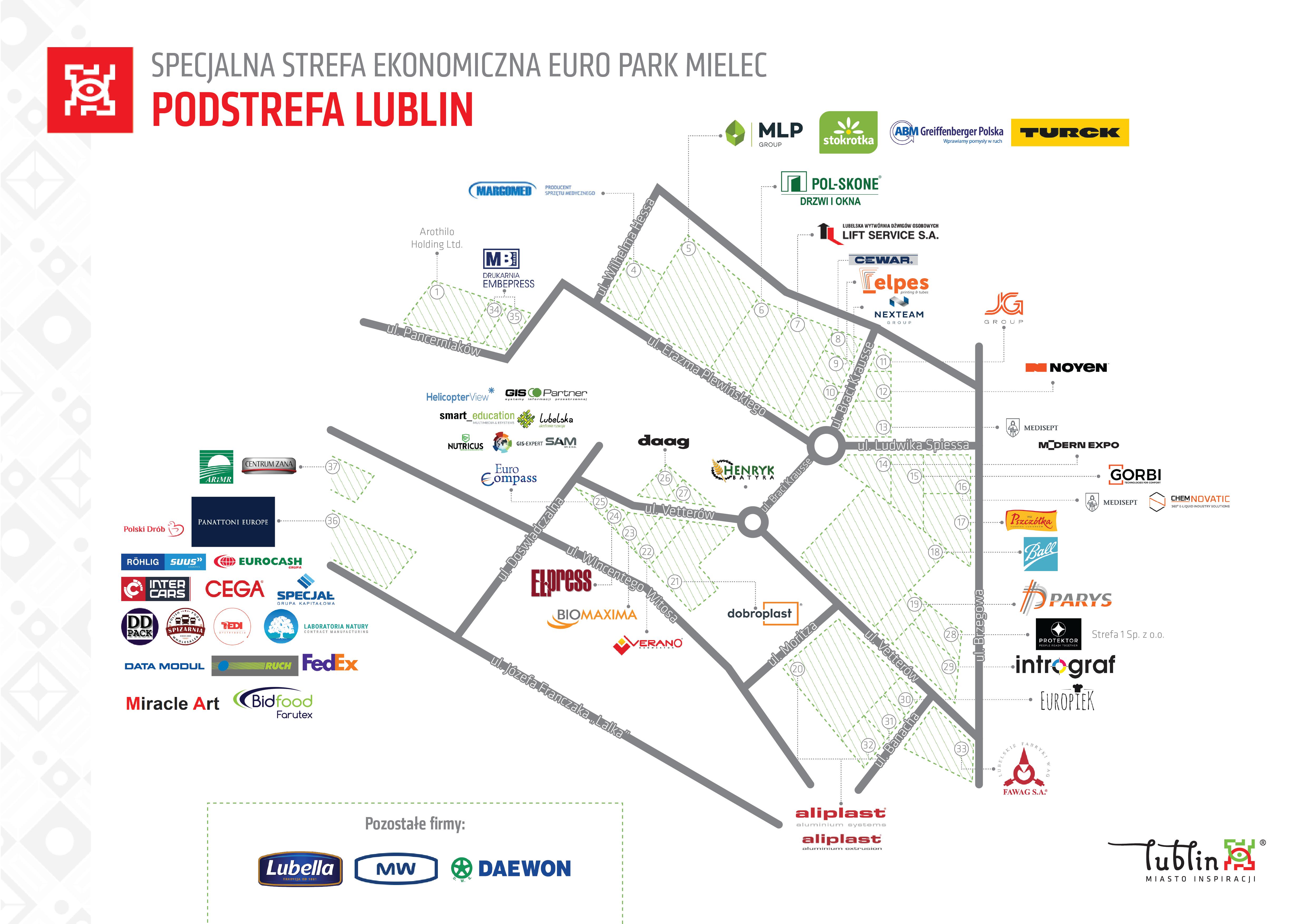 Mapa Specjalna strefa ekonomiczna Euro Park Mielec - Podstrefa Lublin